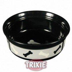 Comedero de cerámica negro con huesitos