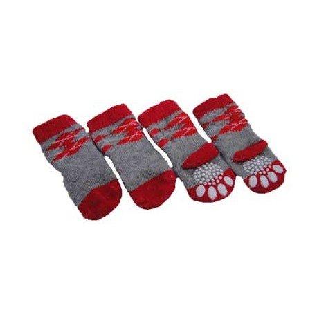 Calcetines de rombos grises y rojos