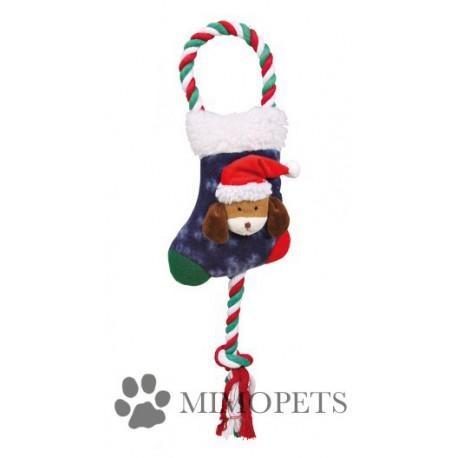Calcetín navideño con cuerda