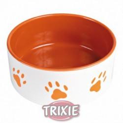 Comedero de cerámica con huellas naranja