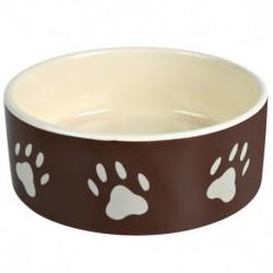 Comedero de cerámica con huellas marrón