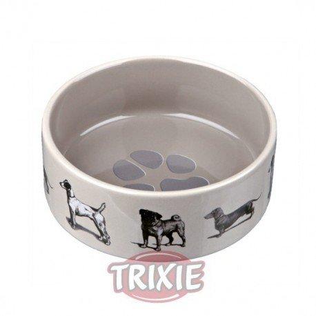 Comedero de cerámica con perros