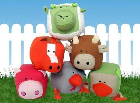 Juguetes para perro de algodón con forma de animales de granja