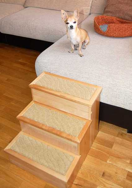 Escalera para perros y gatos PetStair en un sillón