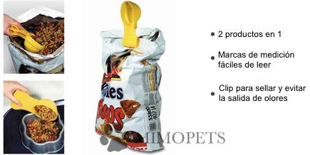 Dispensador y cierre de sacos, dos productos en uno.