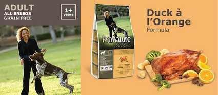 Pienso natural Pronature Holistic para perros adultos de pato a la naranja