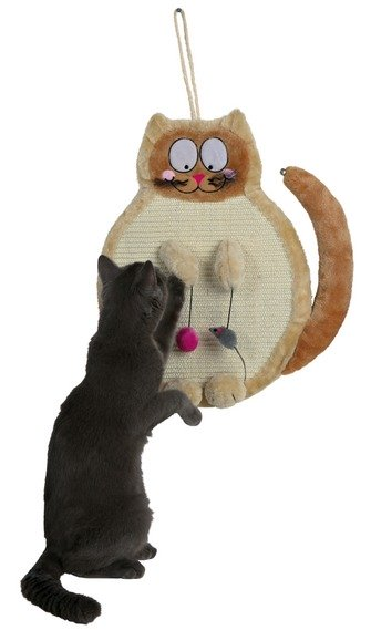 Rascador para colgar en la pared con forma de gato y juguetes colgantes