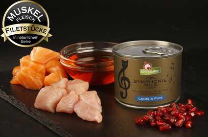 Composición de las latas GranataPet Symphonie de salmón y pavo